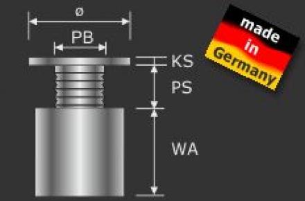 Abstandshalter Edelstahl D=15mm - 2,67 €