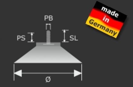 Saugnapf mit Gewindestift M4 D=40mm - 1,61 €