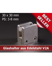 Glashalter Edelstahl 30x30mm - 5,09 €